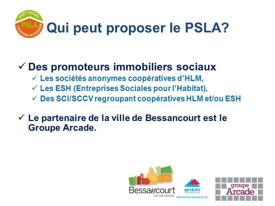 Des promoteurs immobiliers sociaux Les sociétés anonymes coopératives d'HLM, Les ESH (Entreprises Sociales pour l'Habitat), Des SCI/SCCV regroupant coopératives HLM et/ou ESH Le partenaire de la ville de Bessancourt est le Groupe Arcade.