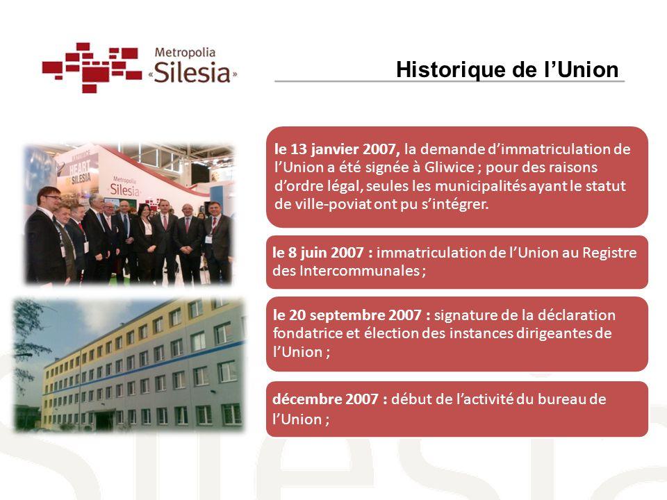 le 13 janvier 2007, la demande d'immatriculation de l'Union a été signée à Gliwice ; pour des raisons d'ordre légal, seules les municipalités ayant le statut de ville-poviat ont pu s'intégrer.