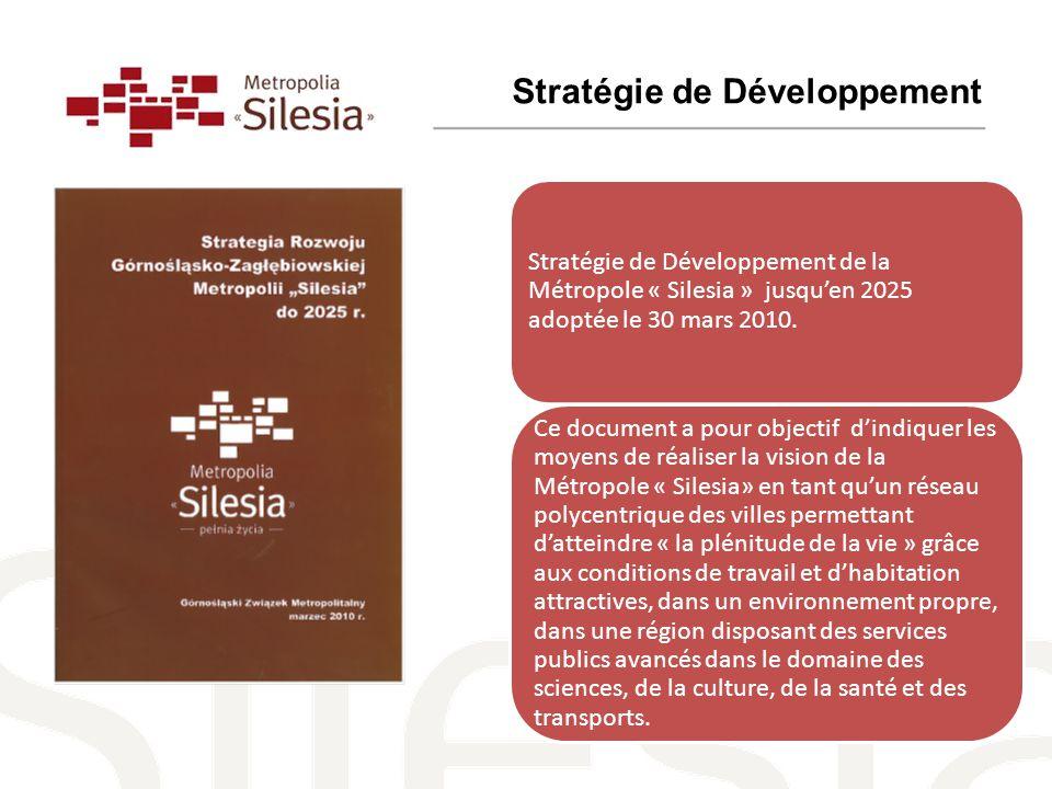 Stratégie de Développement de la Métropole « Silesia » jusqu'en 2025 adoptée le 30 mars 2010.