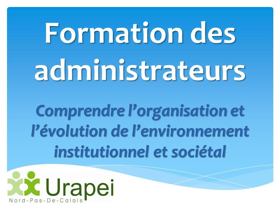 Formation des administrateurs Comprendre l'organisation et l'évolution de l'environnement institutionnel et sociétal