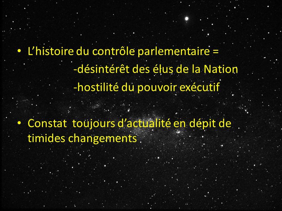 L'histoire du contrôle parlementaire = -désintérêt des élus de la Nation -hostilité du pouvoir exécutif Constat toujours d'actualité en dépit de timides changements