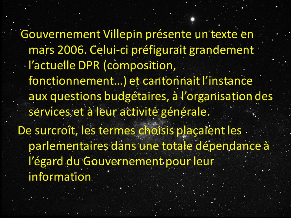 Gouvernement Villepin présente un texte en mars 2006.