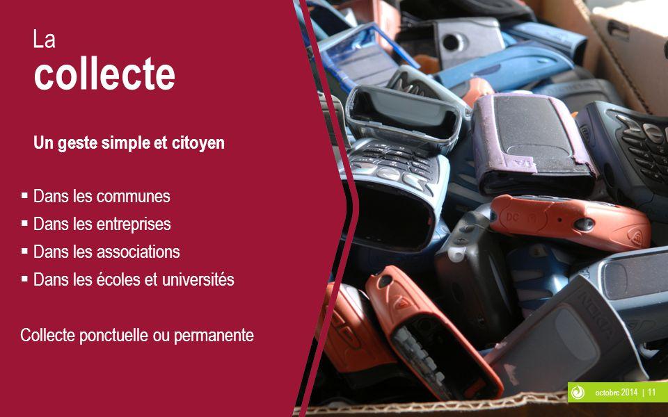 octobre 2014 | 11 La collecte Un geste simple et citoyen  Dans les communes  Dans les entreprises  Dans les associations  Dans les écoles et unive