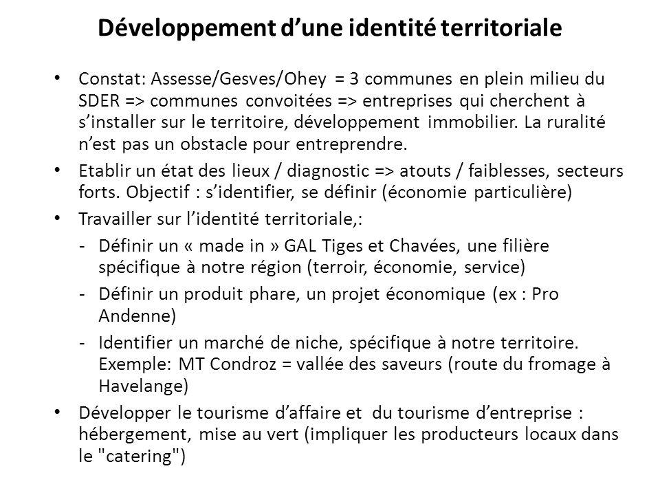 Développement d'une identité territoriale Constat: Assesse/Gesves/Ohey = 3 communes en plein milieu du SDER => communes convoitées => entreprises qui
