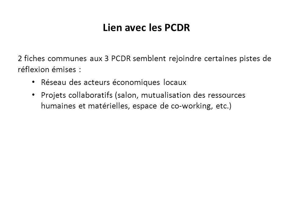 Lien avec les PCDR 2 fiches communes aux 3 PCDR semblent rejoindre certaines pistes de réflexion émises : Réseau des acteurs économiques locaux Projet