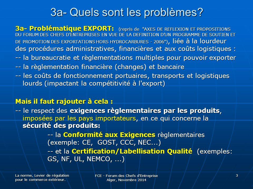3a- Quels sont les problèmes? 3a- Problématique EXPORT: (repris de
