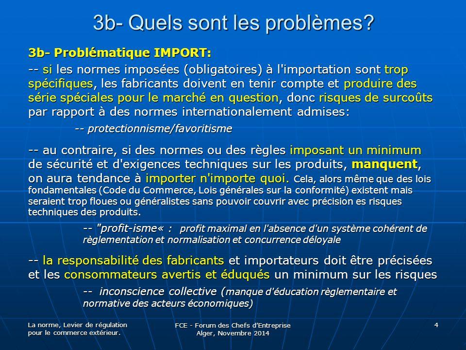 3b- Quels sont les problèmes? 3b- Problématique IMPORT: -- si les normes imposées (obligatoires) à l'importation sont trop spécifiques, les fabricants