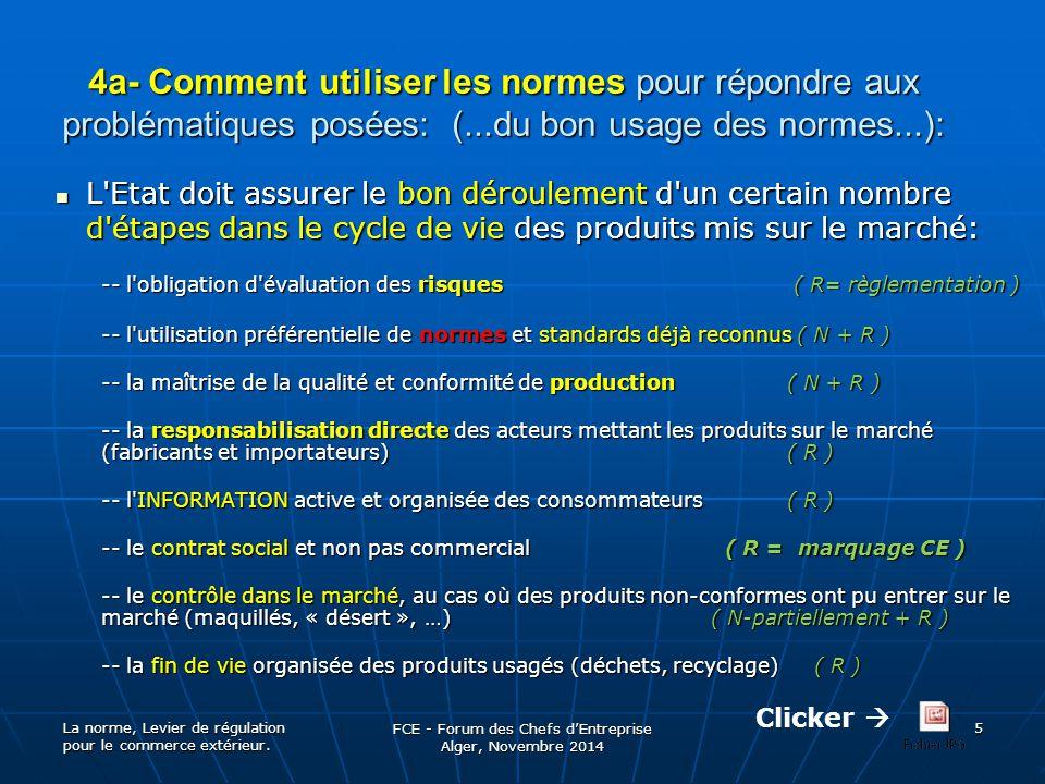 4a- Comment utiliser les normes pour répondre aux problématiques posées: (...du bon usage des normes...): L'Etat doit assurer le bon déroulement d'un