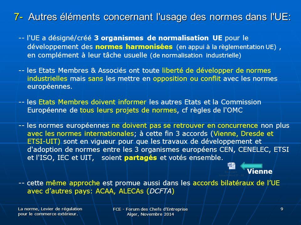 7- Autres éléments concernant l'usage des normes dans l'UE: -- l'UE a désigné/créé 3 organismes de normalisation UE pour le développement des normes h