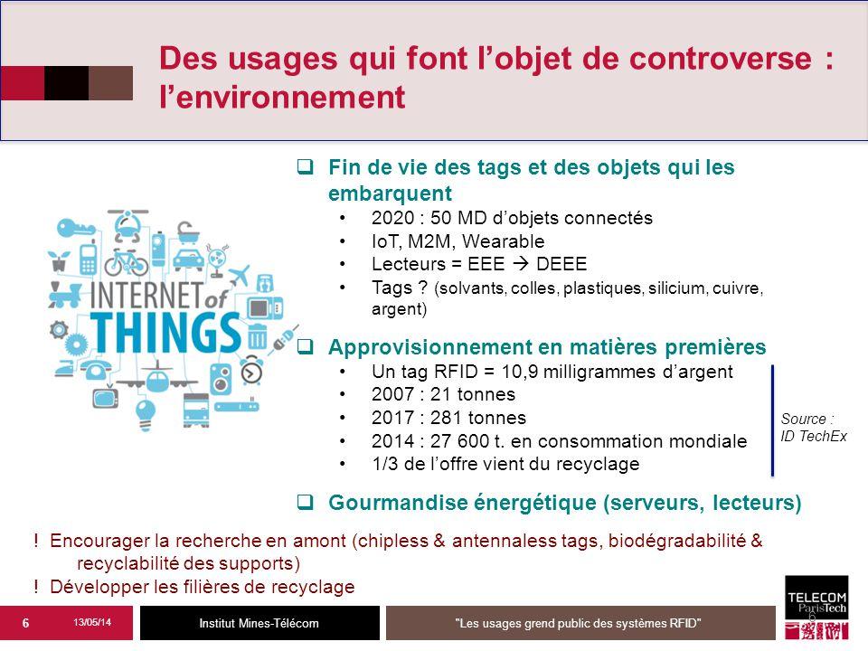 Institut Mines-Télécom 6 Des usages qui font l'objet de controverse : l'environnement  Fin de vie des tags et des objets qui les embarquent 2020 : 50 MD d'objets connectés IoT, M2M, Wearable Lecteurs = EEE  DEEE Tags .