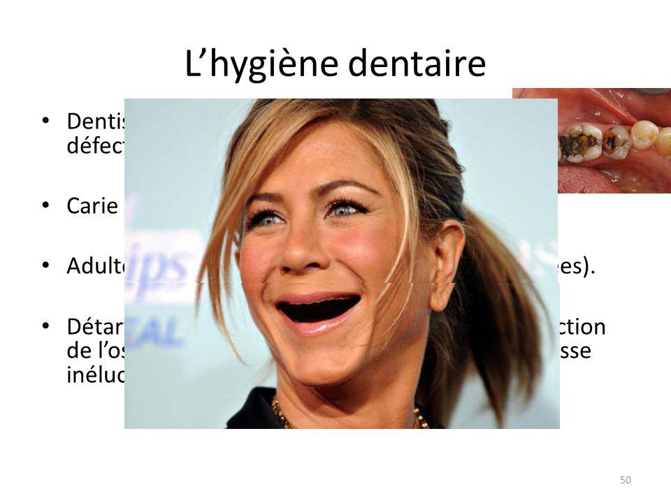 L'hygiène dentaire Dentiste soigne les caries et/ou plombages défectueux. Carie est contagieuse, à traiter rapidement… Adulte : Détartrage 1 fois par