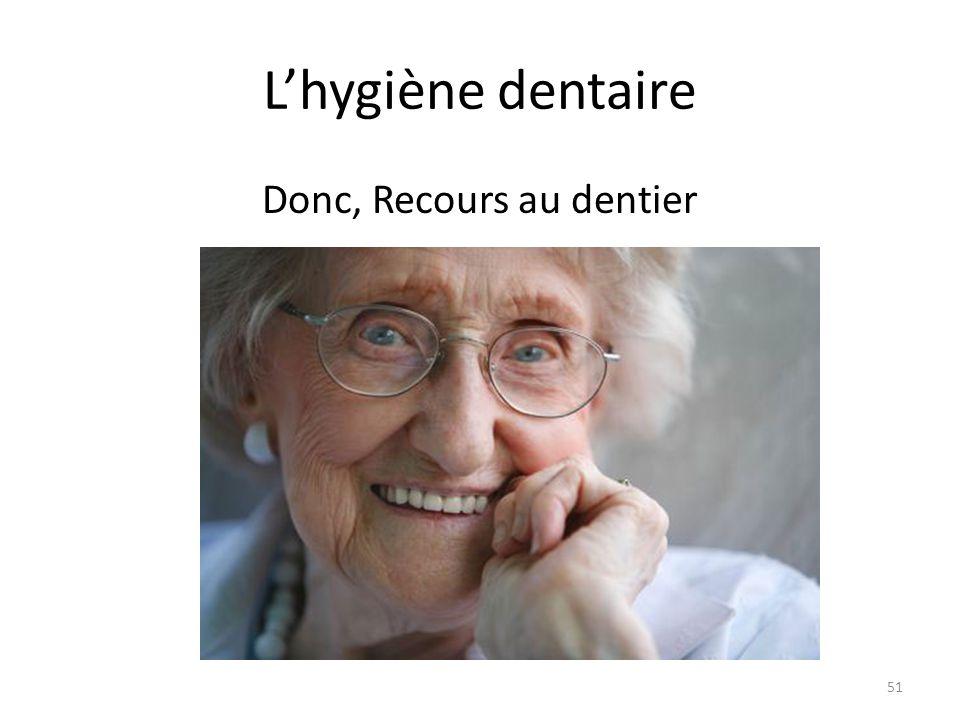 L'hygiène dentaire Donc, Recours au dentier 51