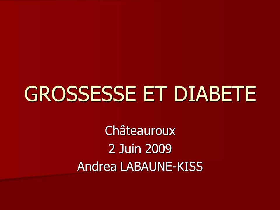 GROSSESSE ET DIABETE Châteauroux 2 Juin 2009 Andrea LABAUNE-KISS