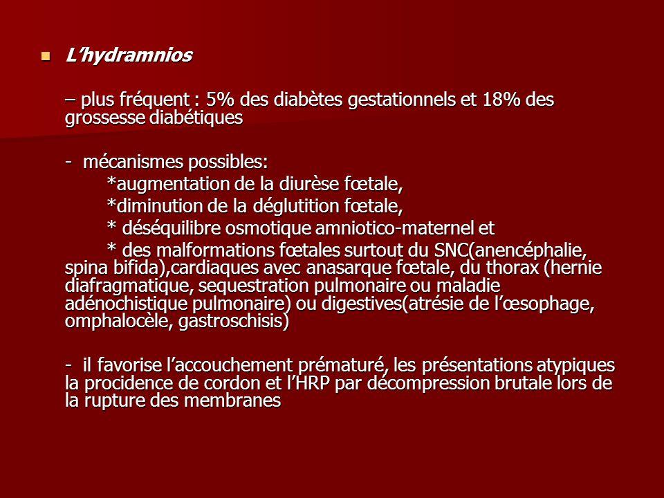 L'hydramnios L'hydramnios – plus fréquent : 5% des diabètes gestationnels et 18% des grossesse diabétiques - mécanismes possibles: *augmentation de la diurèse fœtale, *diminution de la déglutition fœtale, * déséquilibre osmotique amniotico-maternel et * des malformations fœtales surtout du SNC(anencéphalie, spina bifida),cardiaques avec anasarque fœtale, du thorax (hernie diafragmatique, sequestration pulmonaire ou maladie adénochistique pulmonaire) ou digestives(atrésie de l'œsophage, omphalocèle, gastroschisis) - il favorise l'accouchement prématuré, les présentations atypiques la procidence de cordon et l'HRP par décompression brutale lors de la rupture des membranes