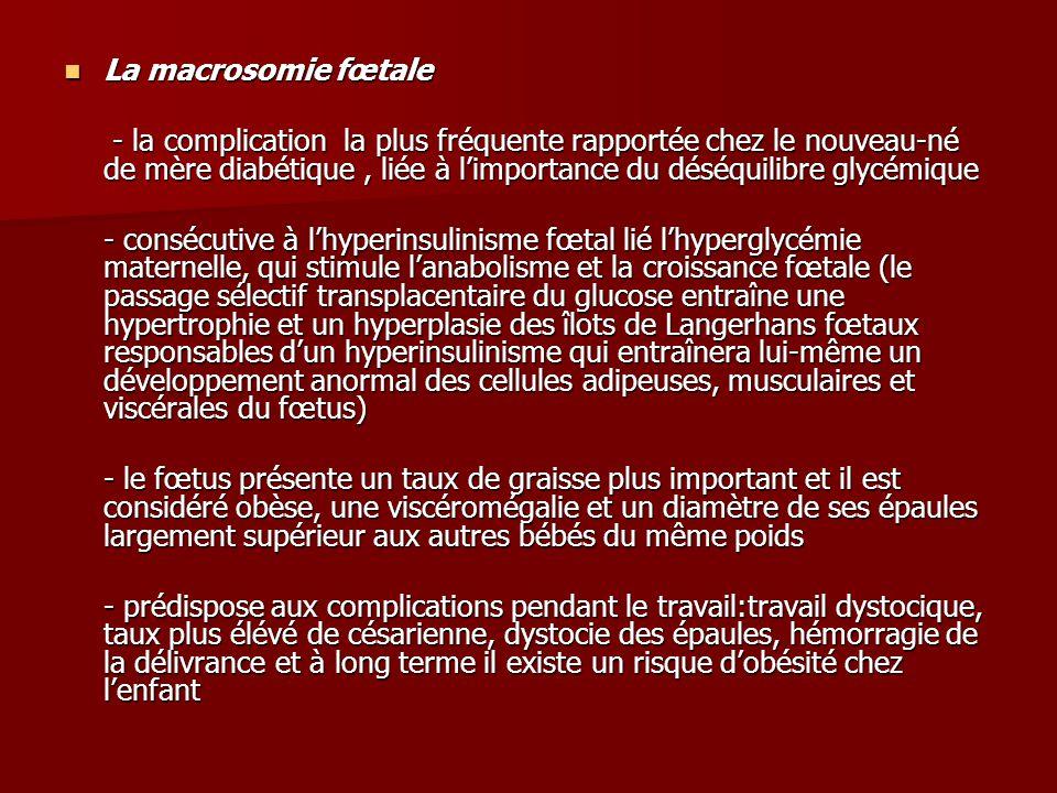 La macrosomie fœtale La macrosomie fœtale - la complication la plus fréquente rapportée chez le nouveau-né de mère diabétique, liée à l'importance du déséquilibre glycémique - la complication la plus fréquente rapportée chez le nouveau-né de mère diabétique, liée à l'importance du déséquilibre glycémique - consécutive à l'hyperinsulinisme fœtal lié l'hyperglycémie maternelle, qui stimule l'anabolisme et la croissance fœtale (le passage sélectif transplacentaire du glucose entraîne une hypertrophie et un hyperplasie des îlots de Langerhans fœtaux responsables d'un hyperinsulinisme qui entraînera lui-même un développement anormal des cellules adipeuses, musculaires et viscérales du fœtus) - le fœtus présente un taux de graisse plus important et il est considéré obèse, une viscéromégalie et un diamètre de ses épaules largement supérieur aux autres bébés du même poids - prédispose aux complications pendant le travail:travail dystocique, taux plus élévé de césarienne, dystocie des épaules, hémorragie de la délivrance et à long terme il existe un risque d'obésité chez l'enfant