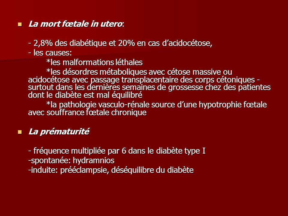 La mort fœtale in utero: La mort fœtale in utero: - 2,8% des diabétique et 20% en cas d'acidocétose, - les causes: *les malformations léthales *les désordres métaboliques avec cétose massive ou acidocétose avec passage transplacentaire des corps cétoniques - surtout dans les dernières semaines de grossesse chez des patientes dont le diabète est mal équilibré *la pathologie vasculo-rénale source d'une hypotrophie fœtale avec souffrance fœtale chronique La prématurité La prématurité - fréquence multipliée par 6 dans le diabète type I -spontanée: hydramnios -induite: prééclampsie, déséquilibre du diabète
