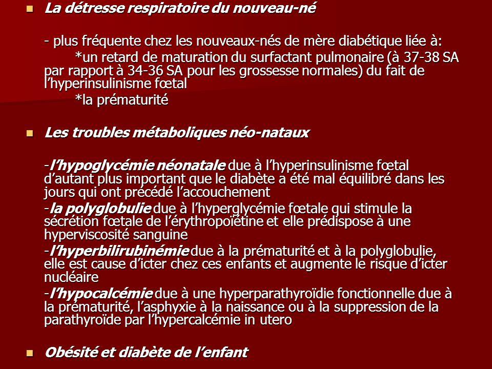 La détresse respiratoire du nouveau-né La détresse respiratoire du nouveau-né - plus fréquente chez les nouveaux-nés de mère diabétique liée à: *un retard de maturation du surfactant pulmonaire (à 37-38 SA par rapport à 34-36 SA pour les grossesse normales) du fait de l'hyperinsulinisme fœtal *la prématurité Les troubles métaboliques néo-nataux Les troubles métaboliques néo-nataux -l'hypoglycémie néonatale due à l'hyperinsulinisme fœtal d'autant plus important que le diabète a été mal équilibré dans les jours qui ont précédé l'accouchement -la polyglobulie due à l'hyperglycémie fœtale qui stimule la sécrétion fœtale de l'érythropoïétine et elle prédispose à une hyperviscosité sanguine -l'hyperbilirubinémie due à la prématurité et à la polyglobulie, elle est cause d'icter chez ces enfants et augmente le risque d'icter nucléaire -l'hypocalcémie due à une hyperparathyroïdie fonctionnelle due à la prématurité, l'asphyxie à la naissance ou à la suppression de la parathyroïde par l'hypercalcémie in utero Obésité et diabète de l'enfant Obésité et diabète de l'enfant