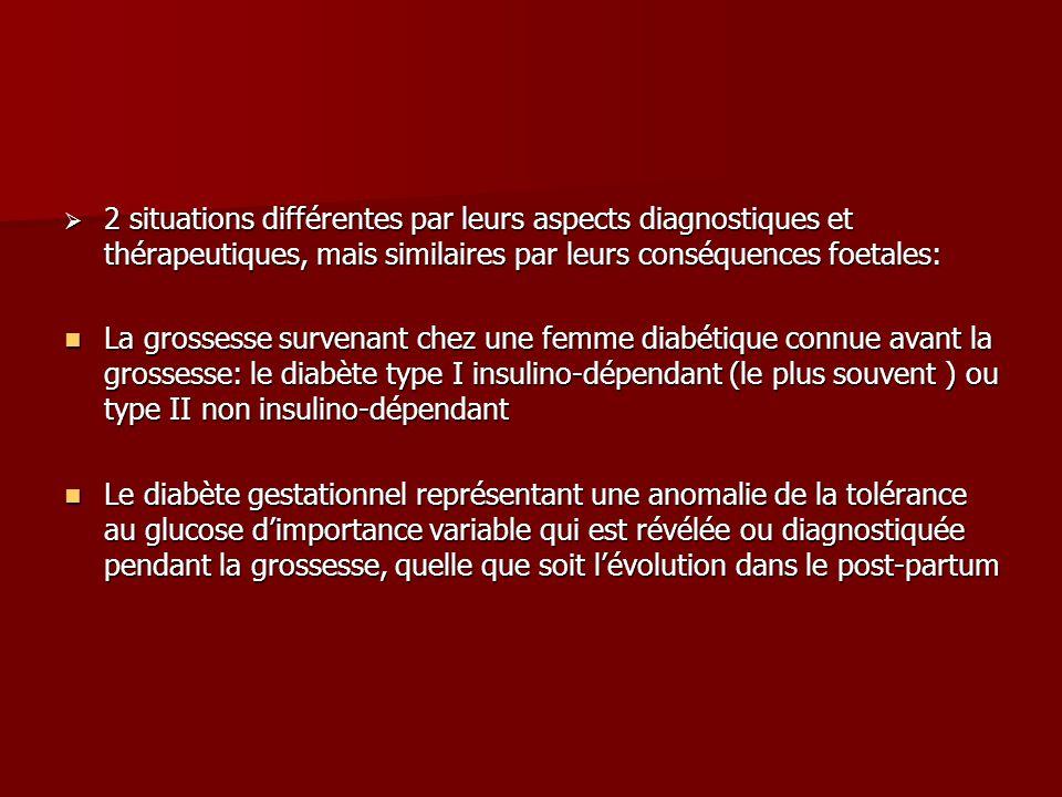  2 situations différentes par leurs aspects diagnostiques et thérapeutiques, mais similaires par leurs conséquences foetales: La grossesse survenant chez une femme diabétique connue avant la grossesse: le diabète type I insulino-dépendant (le plus souvent ) ou type II non insulino-dépendant La grossesse survenant chez une femme diabétique connue avant la grossesse: le diabète type I insulino-dépendant (le plus souvent ) ou type II non insulino-dépendant Le diabète gestationnel représentant une anomalie de la tolérance au glucose d'importance variable qui est révélée ou diagnostiquée pendant la grossesse, quelle que soit l'évolution dans le post-partum Le diabète gestationnel représentant une anomalie de la tolérance au glucose d'importance variable qui est révélée ou diagnostiquée pendant la grossesse, quelle que soit l'évolution dans le post-partum