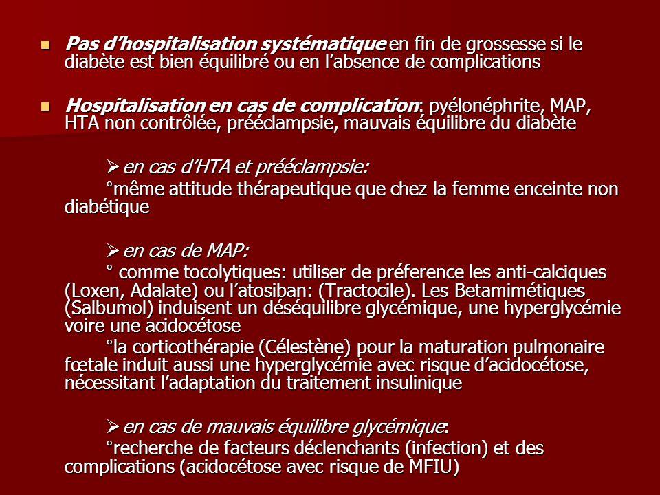 Pas d'hospitalisation systématique en fin de grossesse si le diabète est bien équilibré ou en l'absence de complications Pas d'hospitalisation systématique en fin de grossesse si le diabète est bien équilibré ou en l'absence de complications Hospitalisation en cas de complication: pyélonéphrite, MAP, HTA non contrôlée, prééclampsie, mauvais équilibre du diabète Hospitalisation en cas de complication: pyélonéphrite, MAP, HTA non contrôlée, prééclampsie, mauvais équilibre du diabète  en cas d'HTA et prééclampsie: °même attitude thérapeutique que chez la femme enceinte non diabétique  en cas de MAP: ° comme tocolytiques: utiliser de préference les anti-calciques (Loxen, Adalate) ou l'atosiban: (Tractocile).