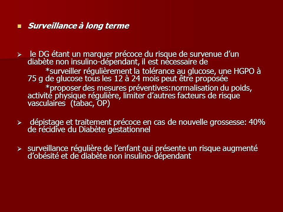 Surveillance à long terme Surveillance à long terme  le DG étant un marquer précoce du risque de survenue d'un diabète non insulino-dépendant, il est nécessaire de *surveiller régulièrement la tolérance au glucose, une HGPO à 75 g de glucose tous les 12 à 24 mois peut être proposée *proposer des mesures préventives:normalisation du poids, activité physique régulière, limiter d'autres facteurs de risque vasculaires (tabac, OP)  dépistage et traitement précoce en cas de nouvelle grossesse: 40% de récidive du Diabète gestationnel  surveillance régulière de l'enfant qui présente un risque augmenté d'obésité et de diabète non insulino-dépendant