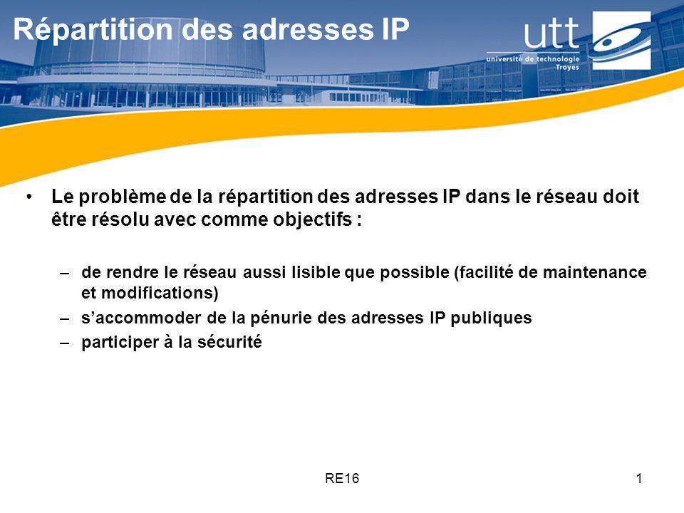 RE161 Répartition des adresses IP Le problème de la répartition des adresses IP dans le réseau doit être résolu avec comme objectifs : –de rendre le r