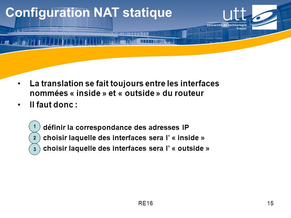 RE1615 Configuration NAT statique La translation se fait toujours entre les interfaces nommées « inside » et « outside » du routeur Il faut donc : 1.d