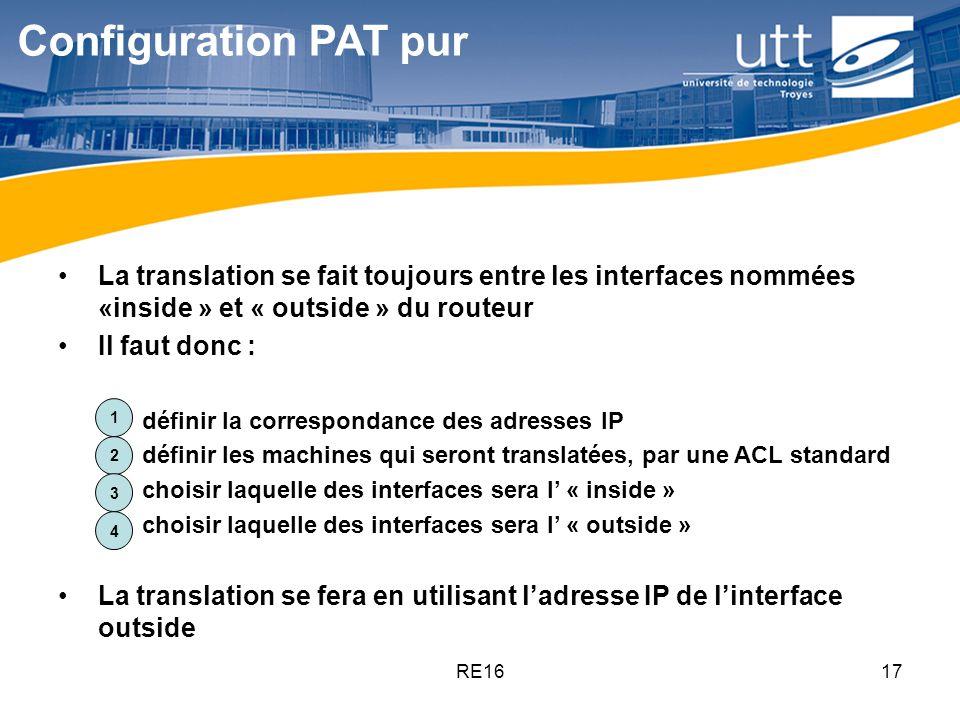 RE1617 Configuration PAT pur La translation se fait toujours entre les interfaces nommées «inside » et « outside » du routeur Il faut donc : 1.définir