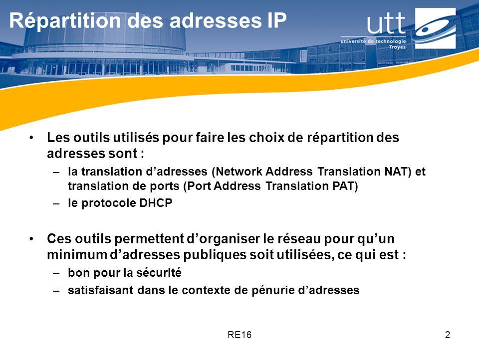 RE162 Répartition des adresses IP Les outils utilisés pour faire les choix de répartition des adresses sont : –la translation d'adresses (Network Addr