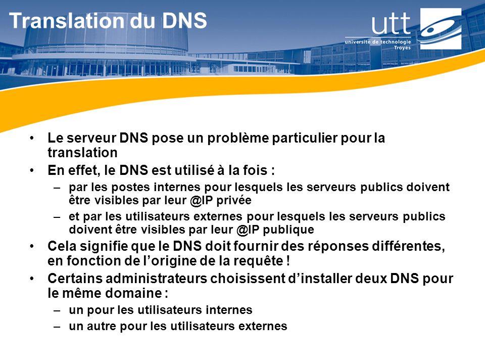 RE1622 Translation du DNS Le serveur DNS pose un problème particulier pour la translation En effet, le DNS est utilisé à la fois : –par les postes int