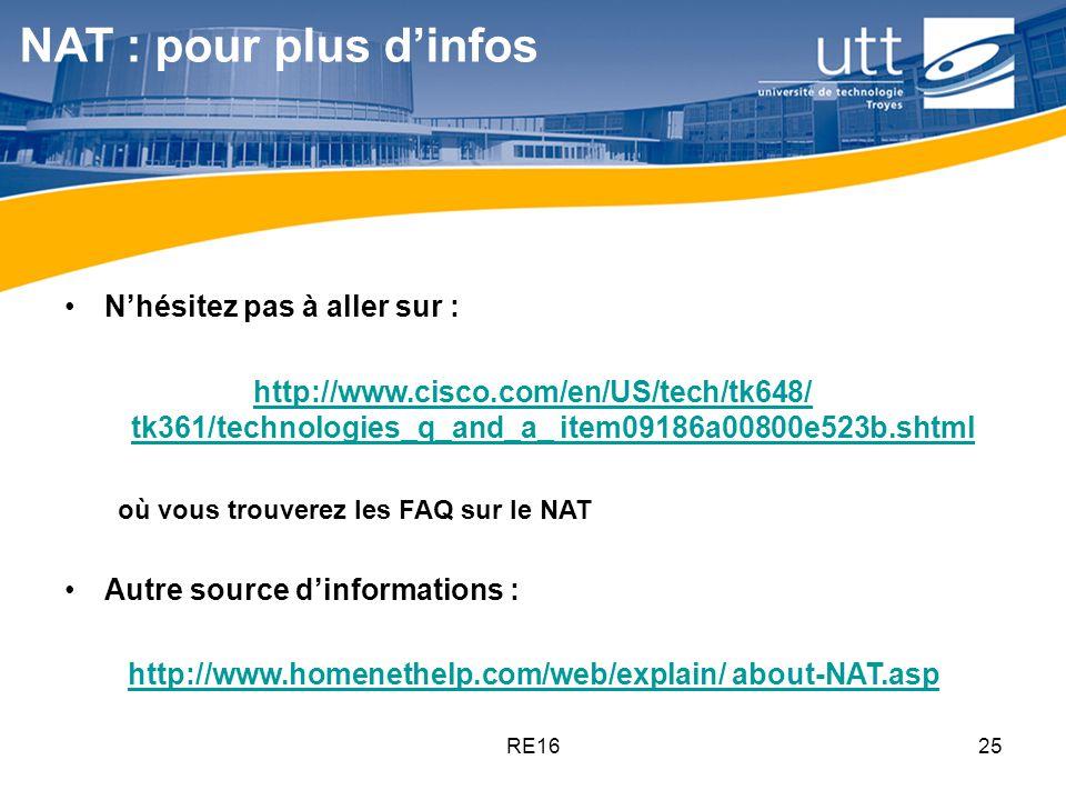 RE1625 NAT : pour plus d'infos N'hésitez pas à aller sur : http://www.cisco.com/en/US/tech/tk648/ tk361/technologies_q_and_a_ item09186a00800e523b.sht
