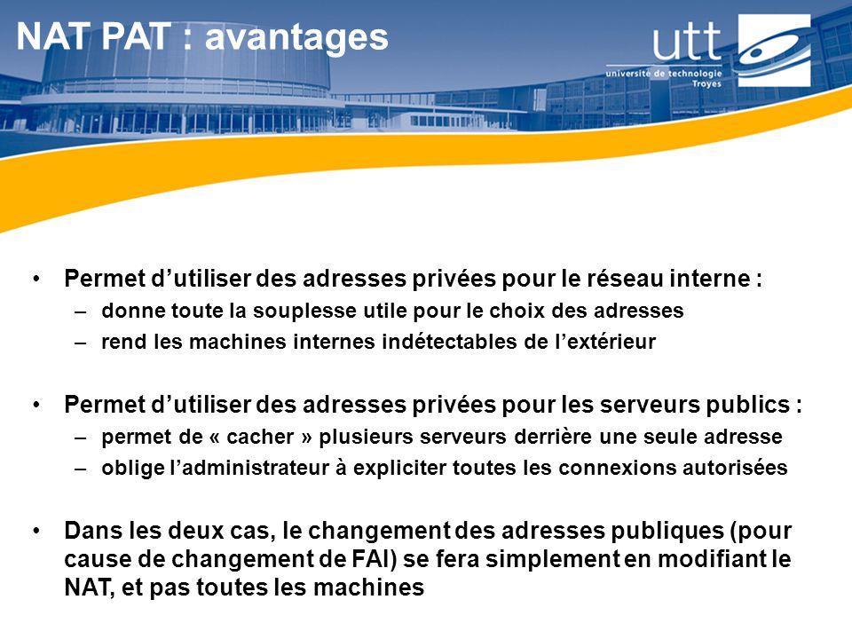 RE1626 NAT PAT : avantages Permet d'utiliser des adresses privées pour le réseau interne : –donne toute la souplesse utile pour le choix des adresses