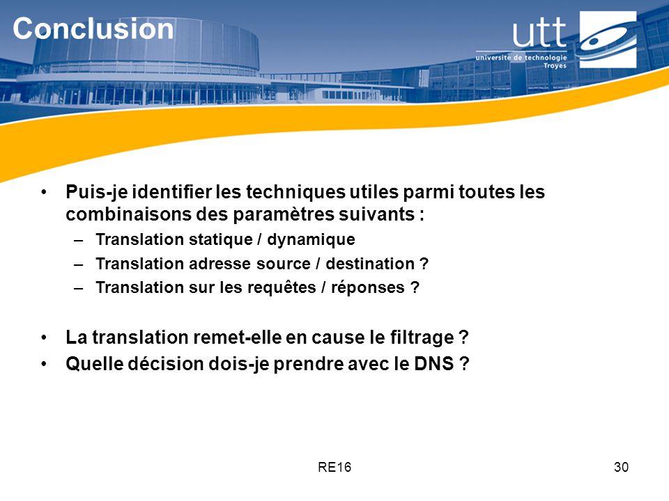 RE1630 Conclusion Puis-je identifier les techniques utiles parmi toutes les combinaisons des paramètres suivants : –Translation statique / dynamique –