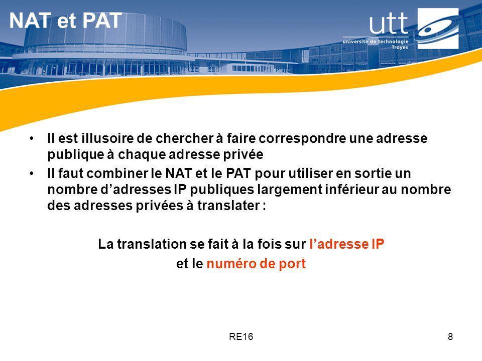RE168 NAT et PAT Il est illusoire de chercher à faire correspondre une adresse publique à chaque adresse privée Il faut combiner le NAT et le PAT pour