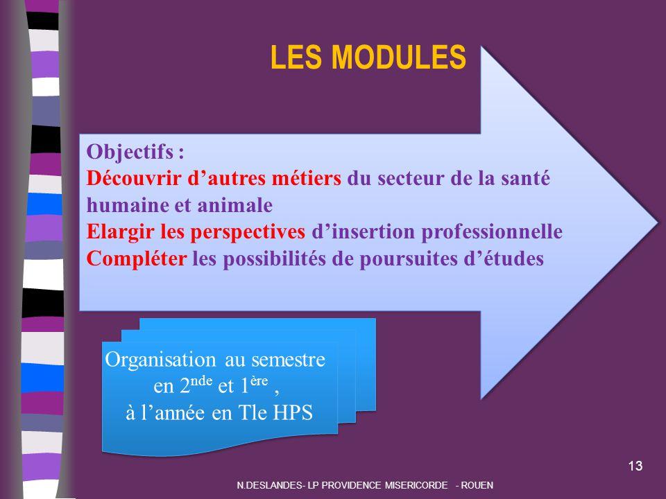 LES MODULES 13 N.DESLANDES- LP PROVIDENCE MISERICORDE - ROUEN Objectifs : Découvrir d'autres métiers du secteur de la santé humaine et animale Elargir