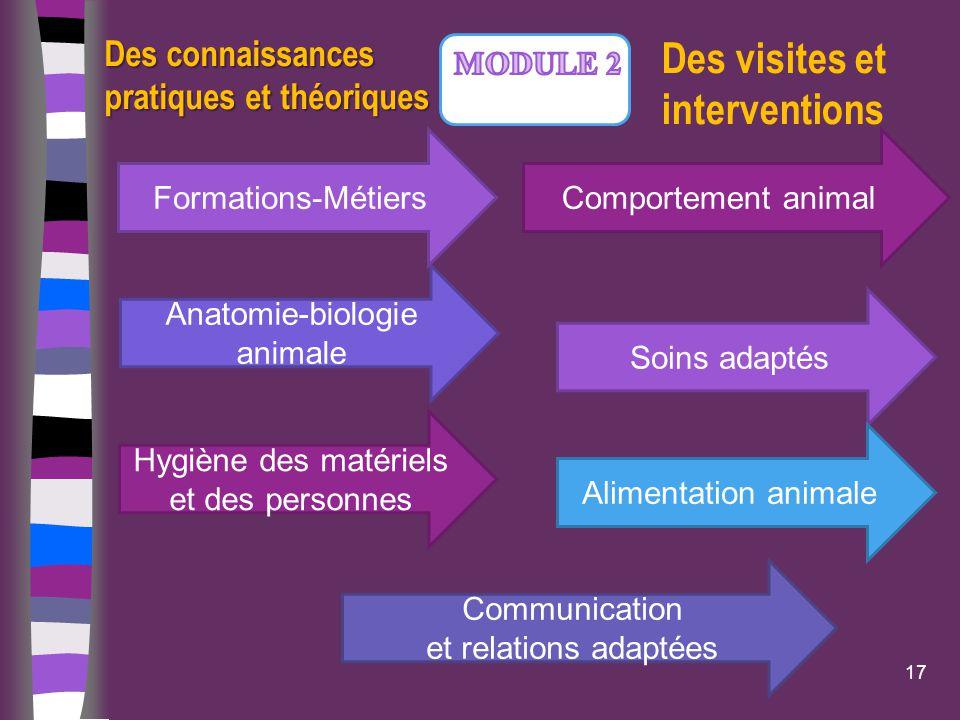 Anatomie-biologie animale 17 Des connaissances pratiques et théoriques Hygiène des matériels et des personnes Soins adaptés Communication et relations