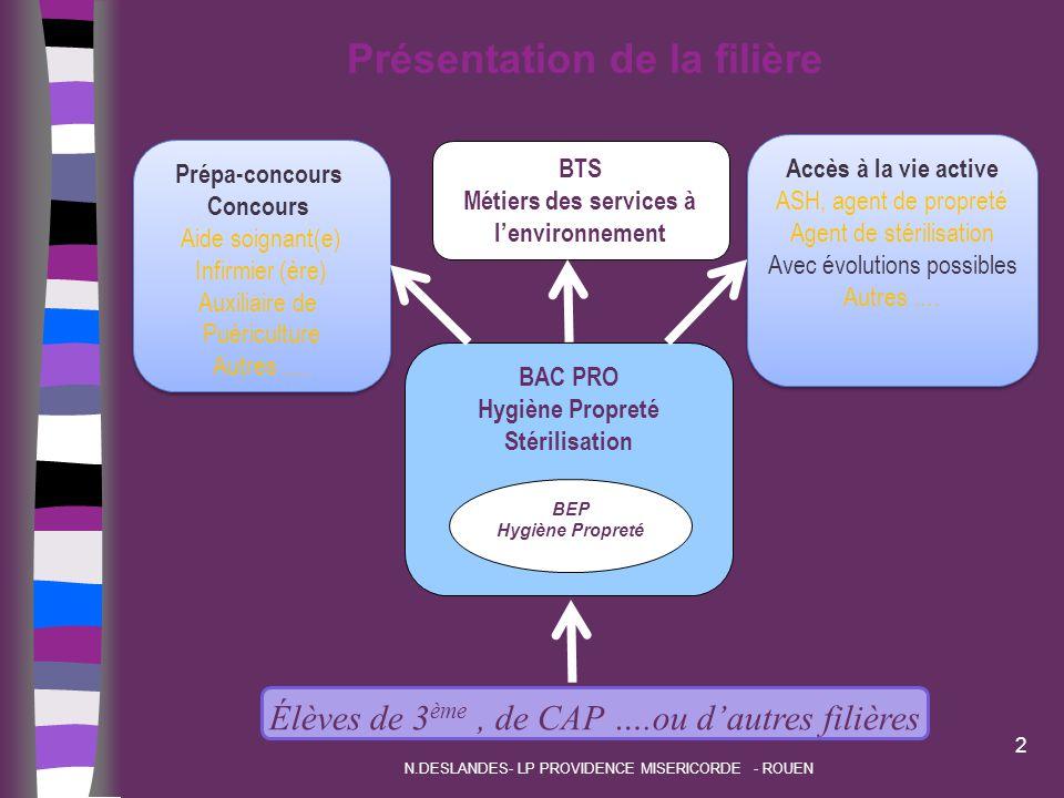 Présentation de la filière BTS Métiers des services à l'environnement BAC PRO Hygiène Propreté Stérilisation BEP Hygiène Propreté Élèves de 3 ème, de