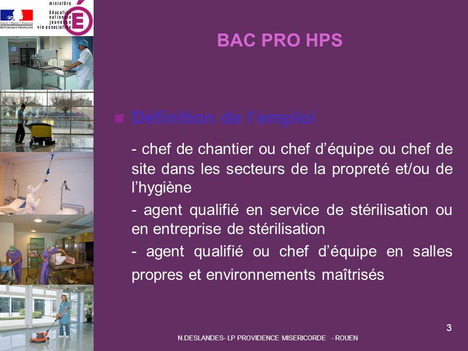 BAC PRO HPS Définition de l'emploi - chef de chantier ou chef d'équipe ou chef de site dans les secteurs de la propreté et/ou de l'hygiène - agent qua