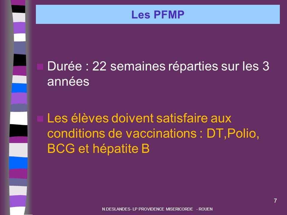 Les PFMP Durée : 22 semaines réparties sur les 3 années Les élèves doivent satisfaire aux conditions de vaccinations : DT,Polio, BCG et hépatite B 7 N