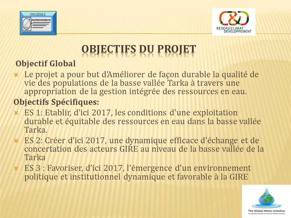 Objectif Global  Le projet a pour but d'Améliorer de façon durable la qualité de vie des populations de la basse vallée Tarka à travers une appropria