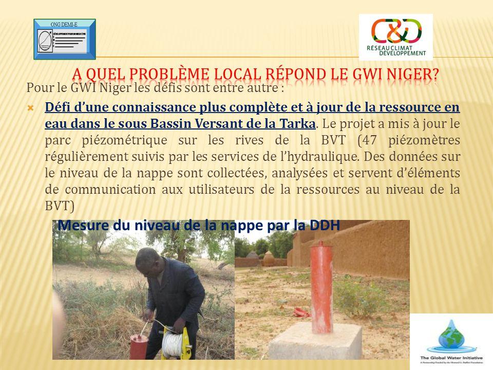 Pour le GWI Niger les défis sont entre autre :  Défi d'une connaissance plus complète et à jour de la ressource en eau dans le sous Bassin Versant de