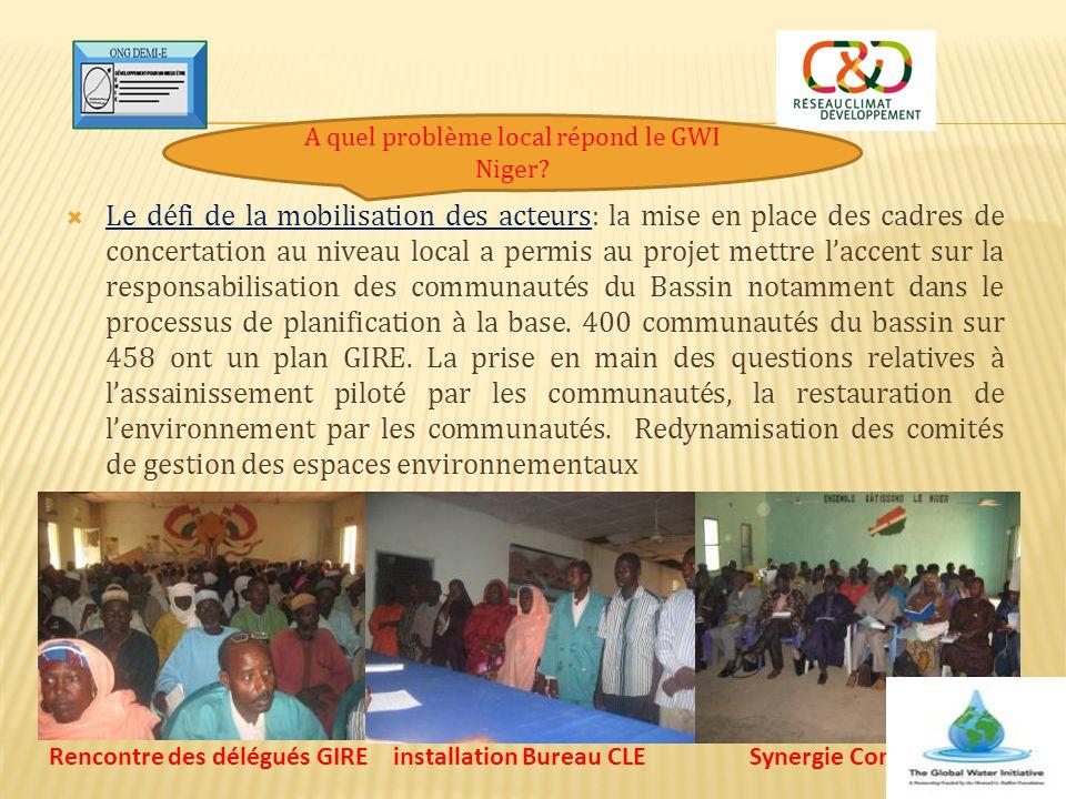 Le défi de la mobilisation des acteurs: la mise en place des cadres de concertation au niveau local a permis au projet mettre l'accent sur la respon