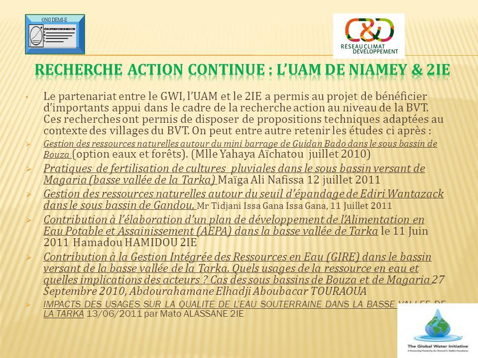 Le partenariat entre le GWI, l'UAM et le 2IE a permis au projet de bénéficier d'importants appui dans le cadre de la recherche action au niveau de la