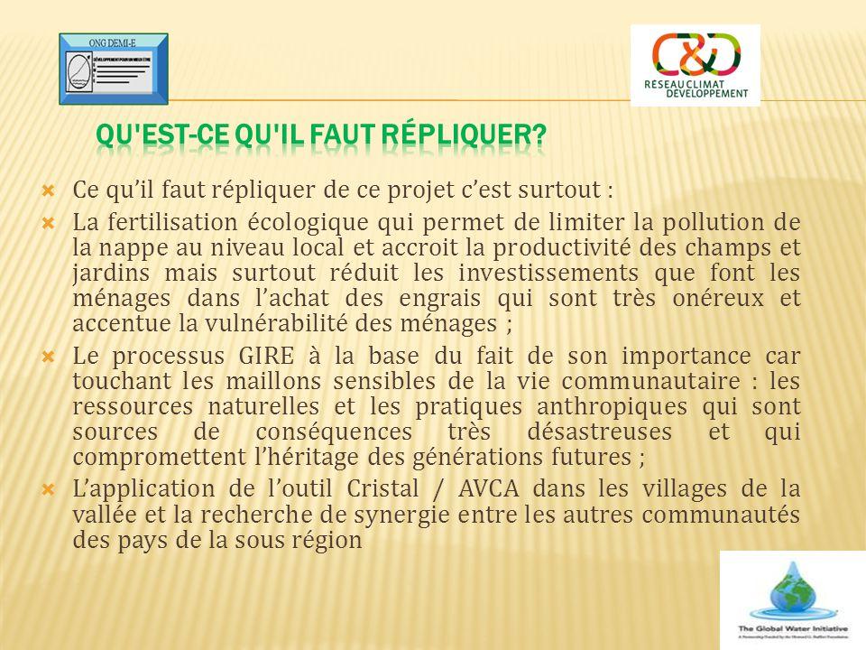  Ce qu'il faut répliquer de ce projet c'est surtout :  La fertilisation écologique qui permet de limiter la pollution de la nappe au niveau local et