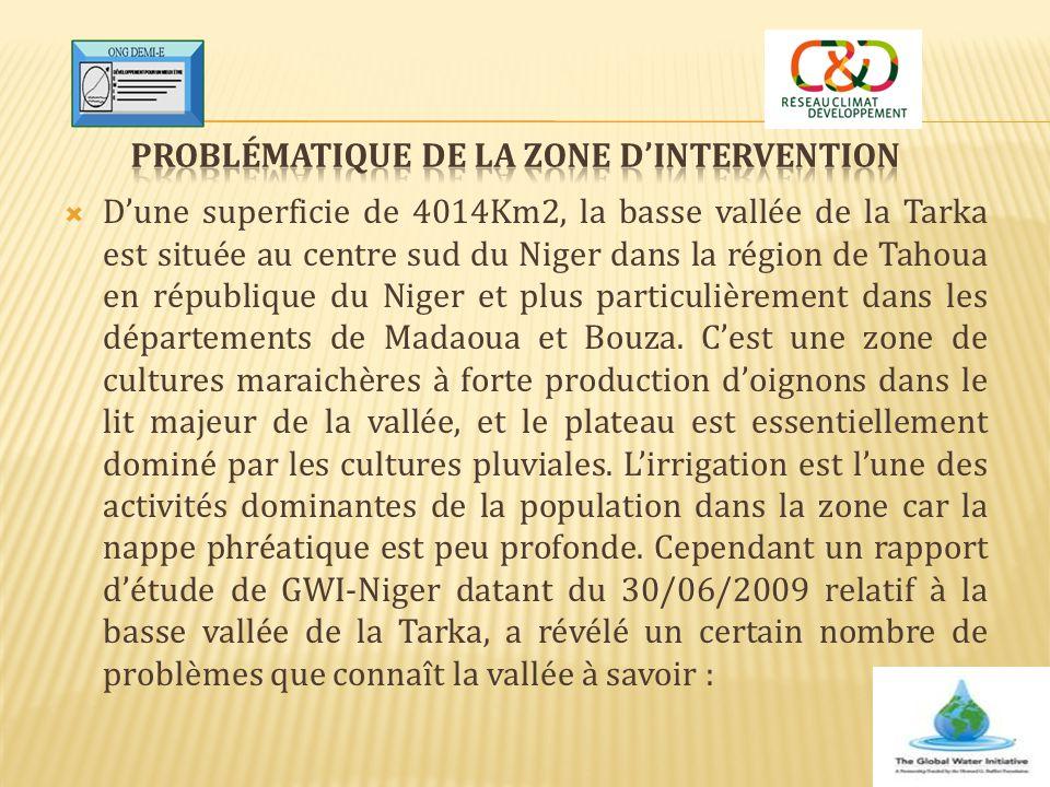  D'une superficie de 4014Km2, la basse vallée de la Tarka est située au centre sud du Niger dans la région de Tahoua en république du Niger et plus p