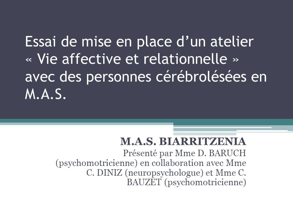 Essai de mise en place d'un atelier « Vie affective et relationnelle » avec des personnes cérébrolésées en M.A.S. M.A.S. BIARRITZENIA Présenté par Mme