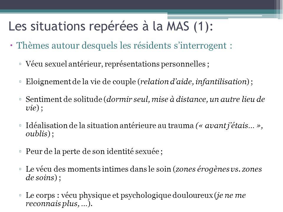 Les situations repérées à la MAS (1):  Thèmes autour desquels les résidents s'interrogent : ▫Vécu sexuel antérieur, représentations personnelles ; ▫E