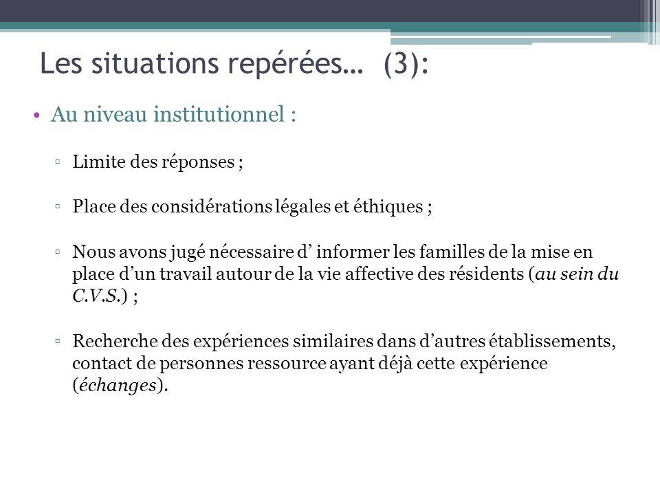 Les situations repérées… (3): Au niveau institutionnel : ▫Limite des réponses ; ▫Place des considérations légales et éthiques ; ▫Nous avons jugé néces