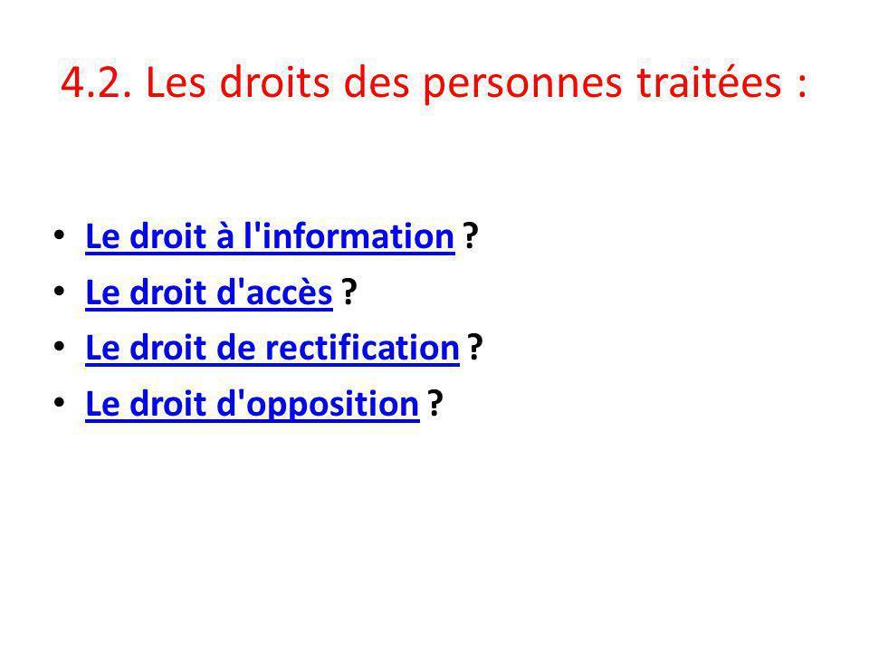 4.2.Les droits des personnes traitées : Le droit à l information .