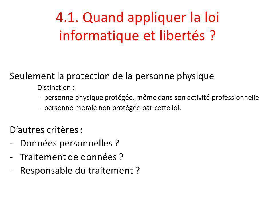 4.1.Quand appliquer la loi informatique et libertés .