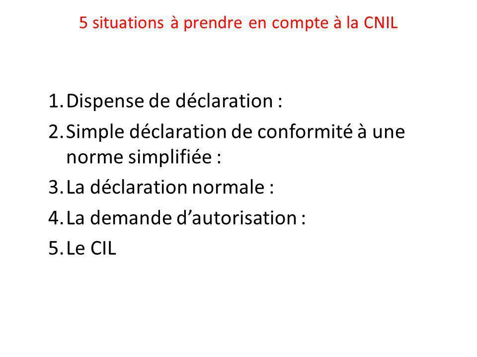 5 situations à prendre en compte à la CNIL 1.Dispense de déclaration : 2.Simple déclaration de conformité à une norme simplifiée : 3.La déclaration normale : 4.La demande d'autorisation : 5.Le CIL